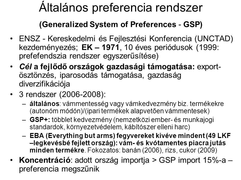 •ENSZ - Kereskedelmi és Fejlesztési Konferencia (UNCTAD) kezdeményezés; EK – 1971, 10 éves periódusok (1999: prefefendszia rendszer egyszerűsítése) •C