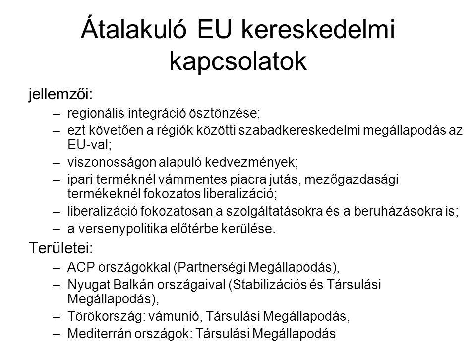 Átalakuló EU kereskedelmi kapcsolatok jellemzői: –regionális integráció ösztönzése; –ezt követően a régiók közötti szabadkereskedelmi megállapodás az