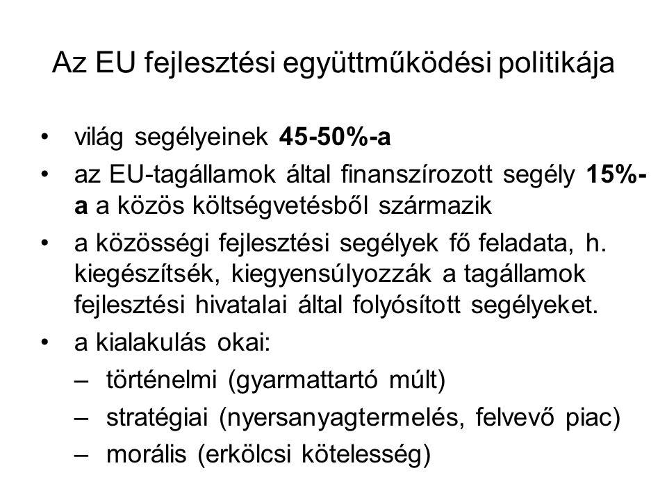 Az EU fejlesztési együttműködési politikája •világ segélyeinek 45-50%-a •az EU-tagállamok által finanszírozott segély 15%- a a közös költségvetésből s