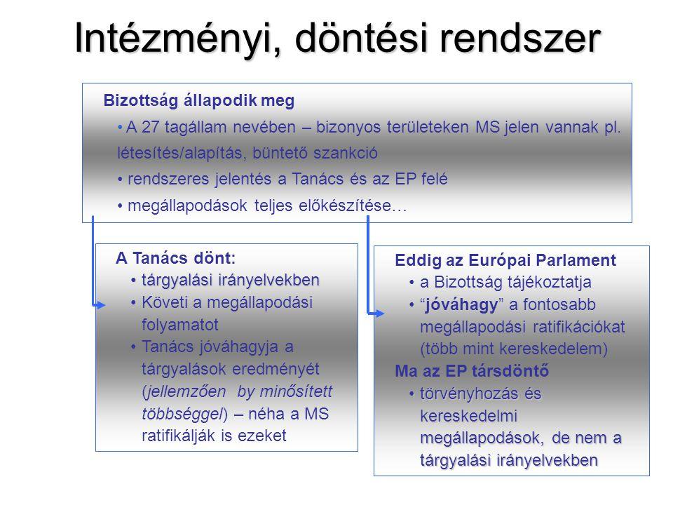 22 Intézményi, döntési rendszer Bizottság állapodik meg • A 27 tagállam nevében – bizonyos területeken MS jelen vannak pl. létesítés/alapítás, büntető