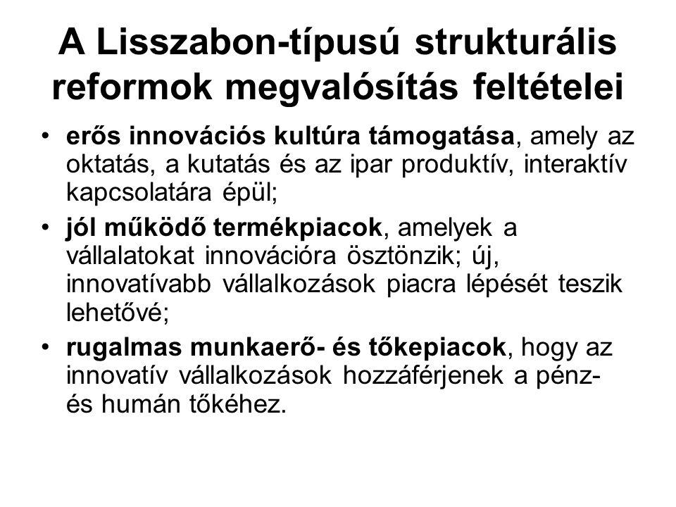 A Lisszabon-típusú strukturális reformok megvalósítás feltételei •erős innovációs kultúra támogatása, amely az oktatás, a kutatás és az ipar produktív