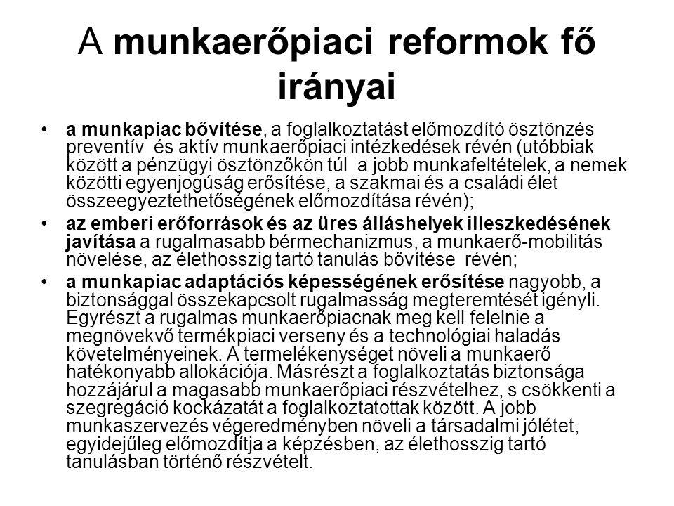 A munkaerőpiaci reformok fő irányai •a munkapiac bővítése, a foglalkoztatást előmozdító ösztönzés preventív és aktív munkaerőpiaci intézkedések révén