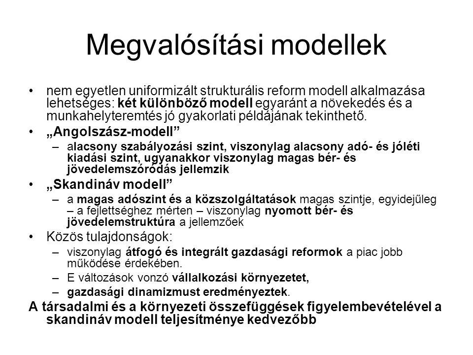 Megvalósítási modellek •nem egyetlen uniformizált strukturális reform modell alkalmazása lehetséges: két különböző modell egyaránt a növekedés és a mu