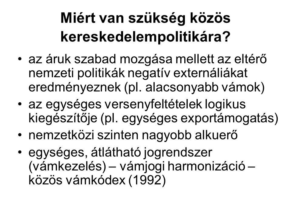 •az áruk szabad mozgása mellett az eltérő nemzeti politikák negatív externáliákat eredményeznek (pl. alacsonyabb vámok) •az egységes versenyfeltételek
