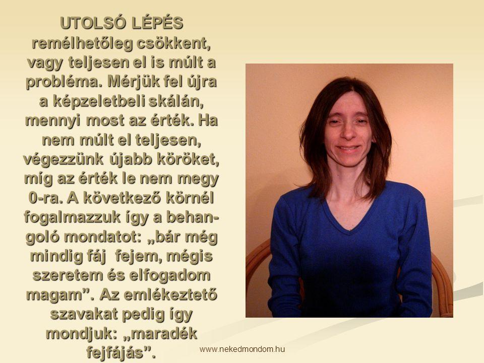 www.nekedmondom.hu UTOLSÓ LÉPÉS remélhetőleg csökkent, vagy teljesen el is múlt a probléma. Mérjük fel újra a képzeletbeli skálán, mennyi most az érté