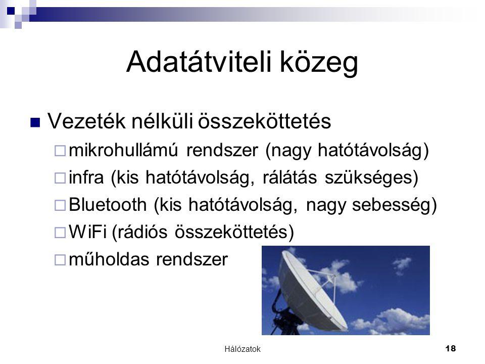 Hálózatok18 Adatátviteli közeg  Vezeték nélküli összeköttetés  mikrohullámú rendszer (nagy hatótávolság)  infra (kis hatótávolság, rálátás szükséges)  Bluetooth (kis hatótávolság, nagy sebesség)  WiFi (rádiós összeköttetés)  műholdas rendszer