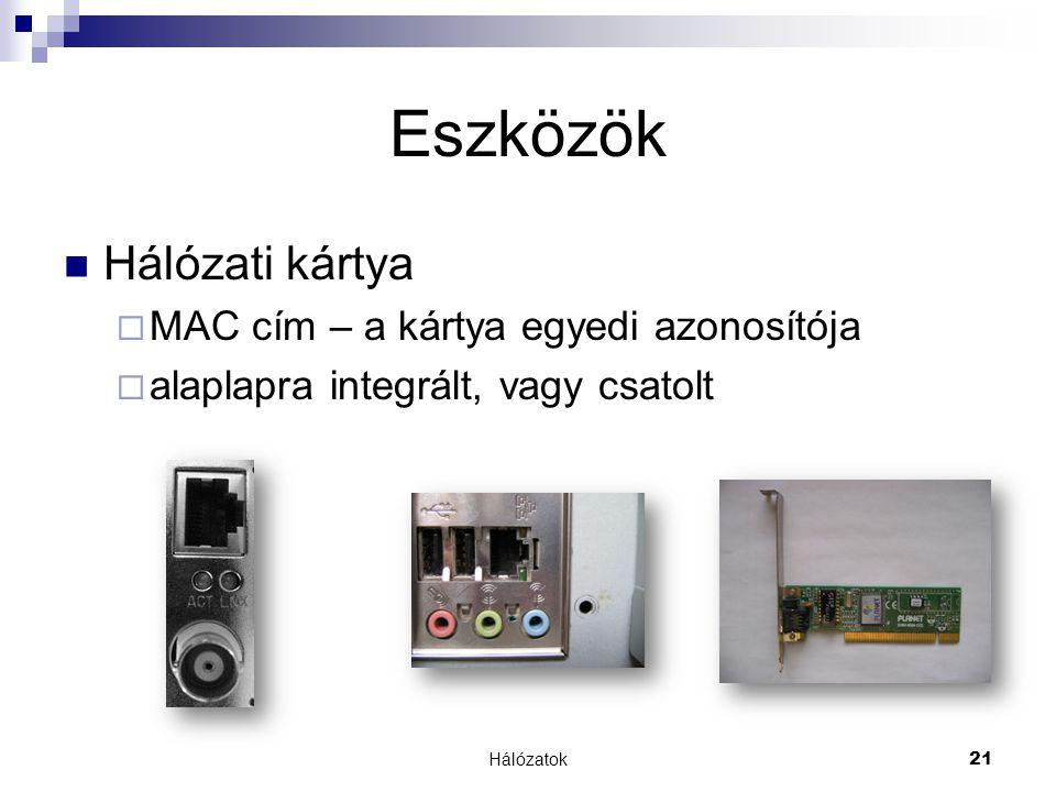Hálózatok21 Eszközök  Hálózati kártya  MAC cím – a kártya egyedi azonosítója  alaplapra integrált, vagy csatolt