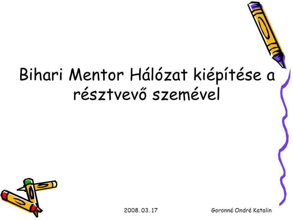 2008. 03. 17Goronné Ondré Katalin Bihari Mentor Hálózat kiépítése a résztvevő szemével
