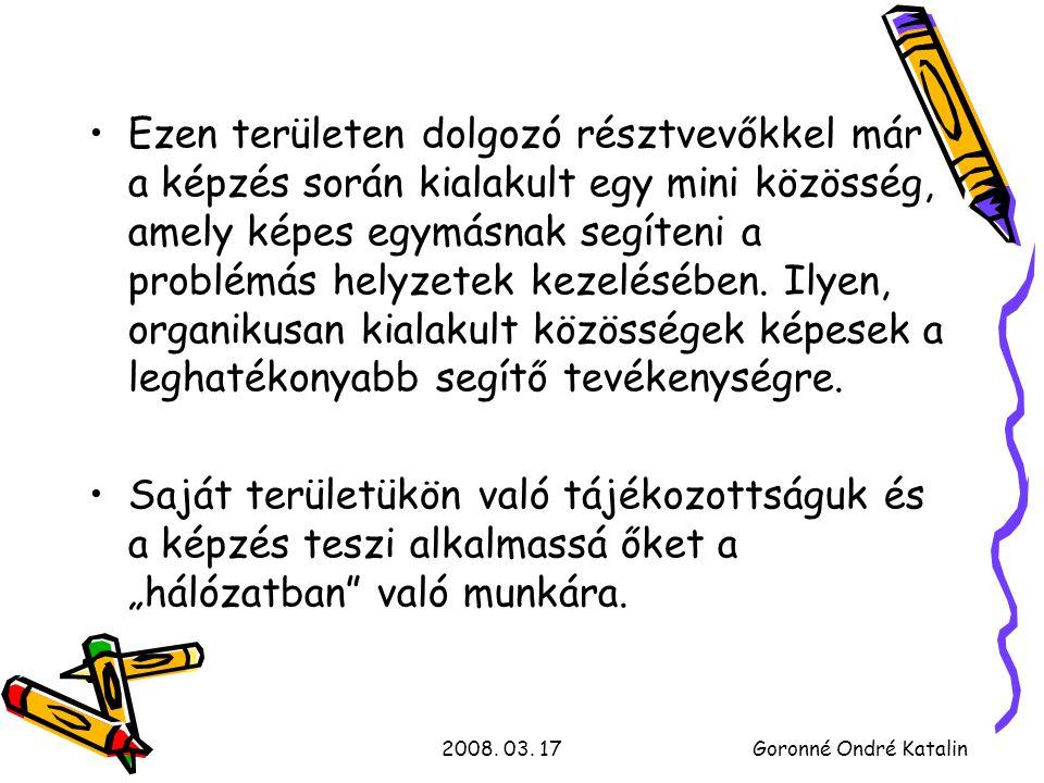 2008.03. 17Goronné Ondré Katalin Milyen területekkel foglalkoztunk a képzés során .