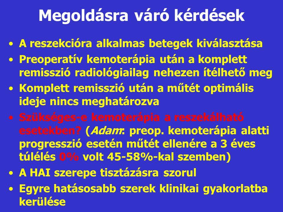 Megoldásra váró kérdések •A reszekcióra alkalmas betegek kiválasztása •Preoperatív kemoterápia után a komplett remisszió radiológiailag nehezen ítélhe