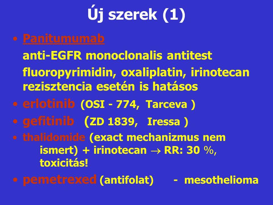 Új szerek (1) •Panitumumab anti-EGFR monoclonalis antitest fluoropyrimidin, oxaliplatin, irinotecan rezisztencia esetén is hatásos •erlotinib (OSI - 7