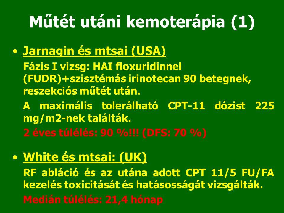 Műtét utáni kemoterápia (1) •Jarnagin és mtsai (USA) Fázis I vizsg: HAI floxuridinnel (FUDR)+szisztémás irinotecan 90 betegnek, reszekciós műtét után.