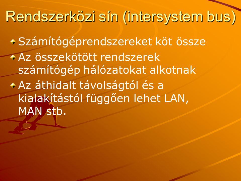 Rendszerközi sín (intersystem bus) Számítógéprendszereket köt össze Az összekötött rendszerek számítógép hálózatokat alkotnak Az áthidalt távolságtól és a kialakítástól függően lehet LAN, MAN stb.