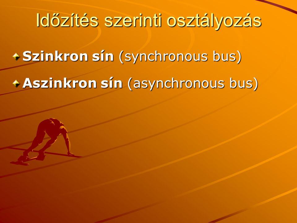 Időzítés szerinti osztályozás Szinkron sín (synchronous bus) Aszinkron sín (asynchronous bus)