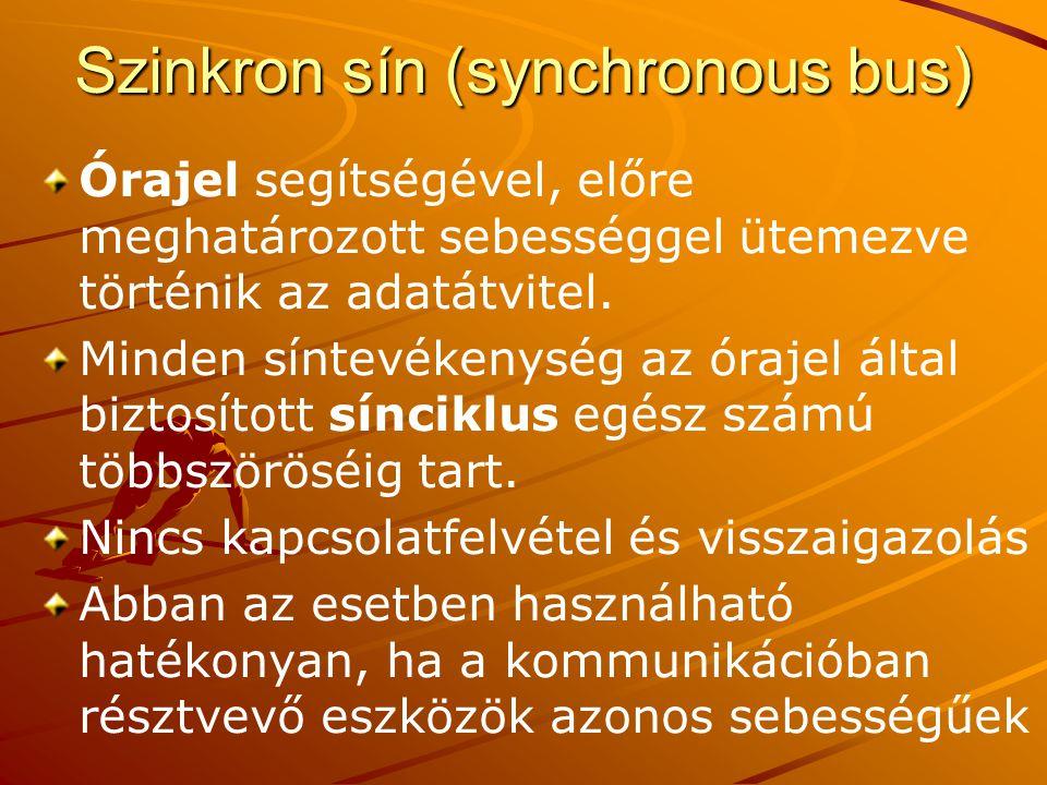 Szinkron sín (synchronous bus) Órajel segítségével, előre meghatározott sebességgel ütemezve történik az adatátvitel.