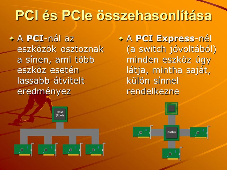 PCI és PCIe összehasonlítása A PCI-nál az eszközök osztoznak a sínen, ami több eszköz esetén lassabb átvitelt eredményez A PCI Express-nél (a switch jóvoltából) minden eszköz úgy látja, mintha saját, külön sínnel rendelkezne