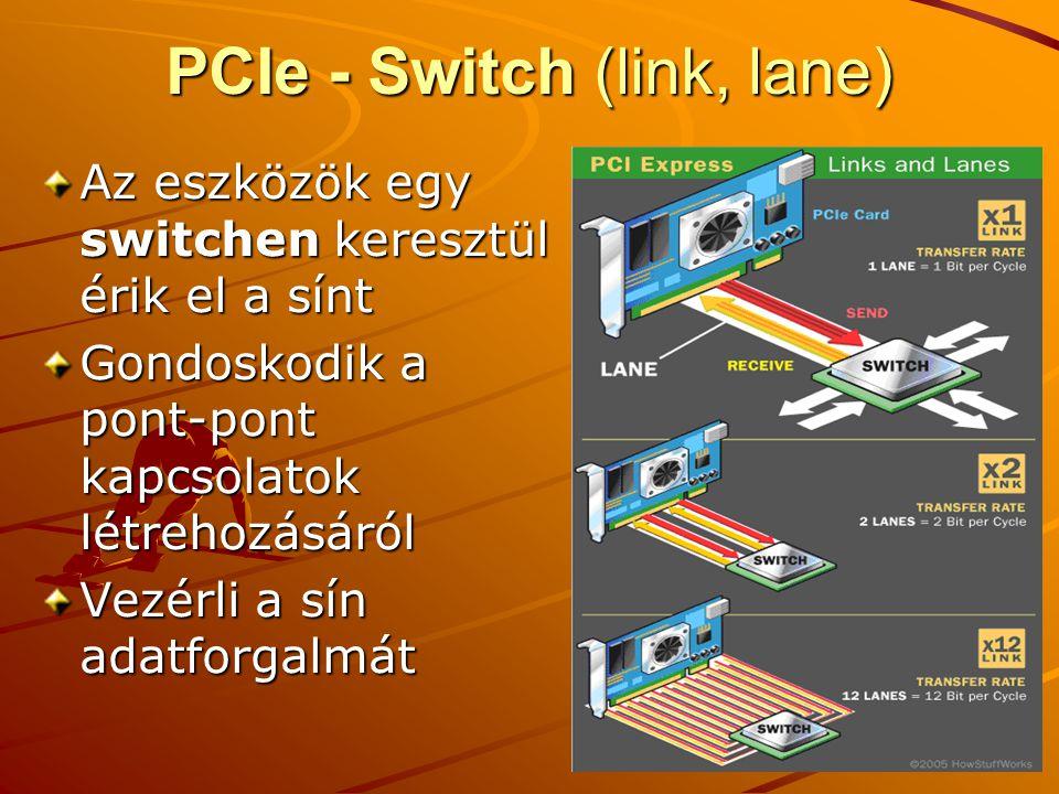 PCIe - Switch (link, lane) Az eszközök egy switchen keresztül érik el a sínt Gondoskodik a pont-pont kapcsolatok létrehozásáról Vezérli a sín adatforgalmát