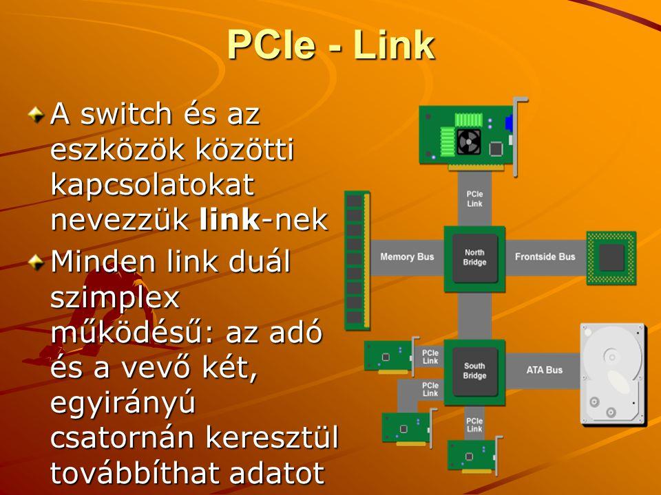 PCIe - Link A switch és az eszközök közötti kapcsolatokat nevezzük link-nek Minden link duál szimplex működésű: az adó és a vevő két, egyirányú csatornán keresztül továbbíthat adatot