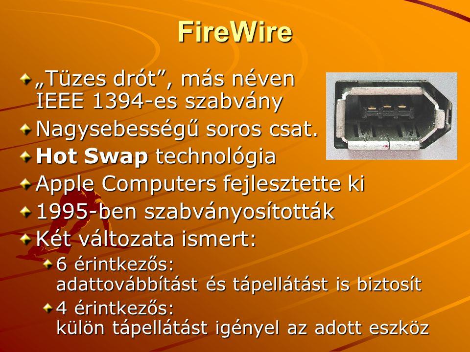 """FireWire """"Tüzes drót , más néven IEEE 1394-es szabvány Nagysebességű soros csat."""