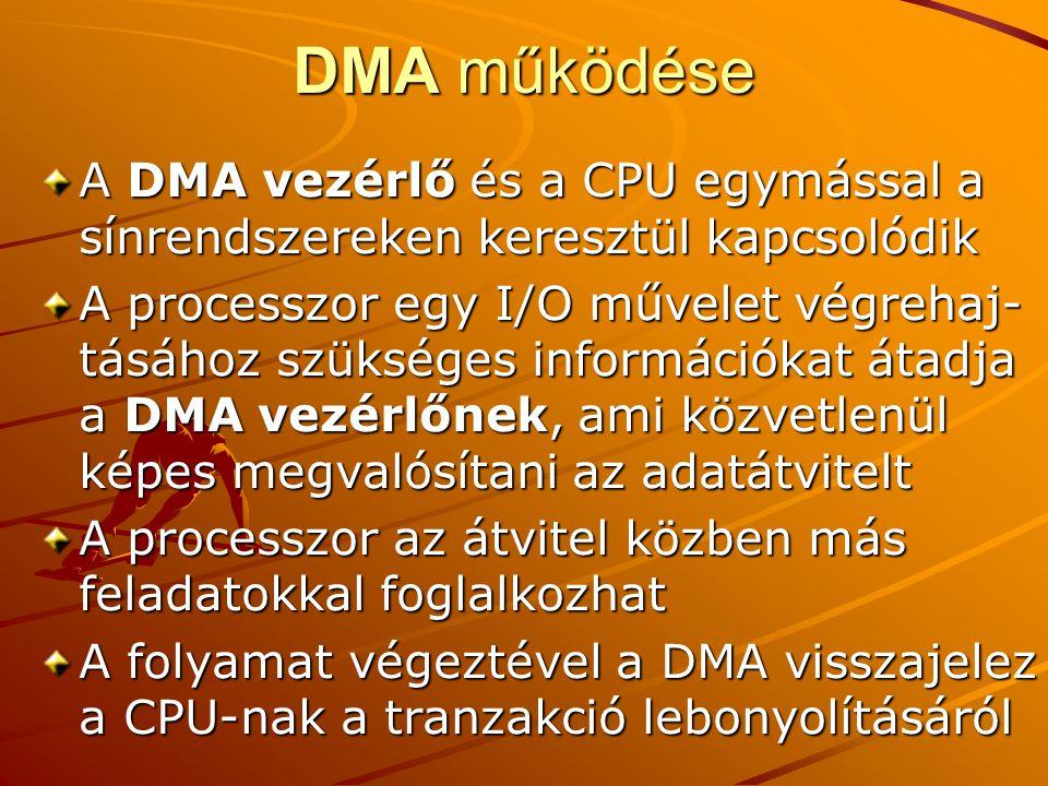 DMA működése A DMA vezérlő és a CPU egymással a sínrendszereken keresztül kapcsolódik A processzor egy I/O művelet végrehaj- tásához szükséges információkat átadja a DMA vezérlőnek, ami közvetlenül képes megvalósítani az adatátvitelt A processzor az átvitel közben más feladatokkal foglalkozhat A folyamat végeztével a DMA visszajelez a CPU-nak a tranzakció lebonyolításáról