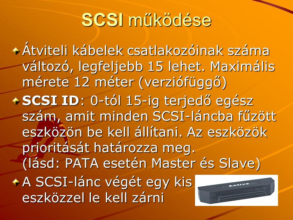 SCSI működése Átviteli kábelek csatlakozóinak száma változó, legfeljebb 15 lehet.