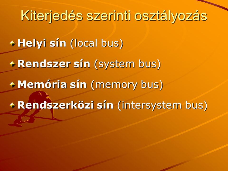Kiterjedés szerinti osztályozás Helyi sín (local bus) Rendszer sín (system bus) Memória sín (memory bus) Rendszerközi sín (intersystem bus)
