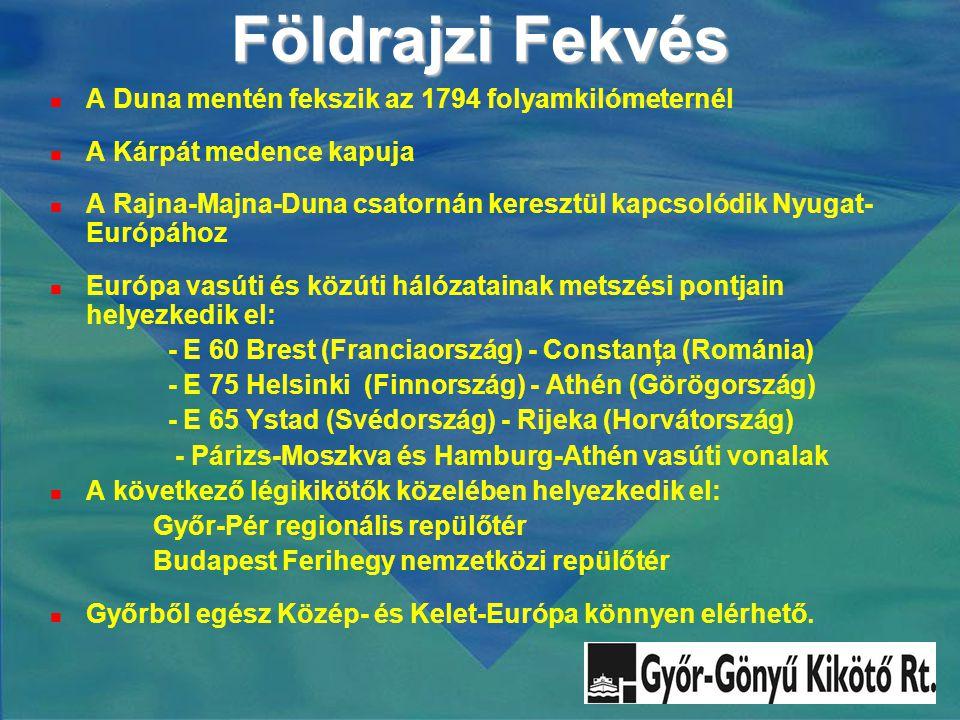 Földrajzi Fekvés  A Duna mentén fekszik az 1794 folyamkilómeternél  A Kárpát medence kapuja  A Rajna-Majna-Duna csatornán keresztül kapcsolódik Nyugat- Európához  Európa vasúti és közúti hálózatainak metszési pontjain helyezkedik el: - E 60 Brest (Franciaország) - Constanţa (Románia) - E 75 Helsinki (Finnország) - Athén (Görögország) - E 65 Ystad (Svédország) - Rijeka (Horvátország) - Párizs-Moszkva és Hamburg-Athén vasúti vonalak  A következő légikikötők közelében helyezkedik el: Győr-Pér regionális repülőtér Budapest Ferihegy nemzetközi repülőtér  Győrből egész Közép- és Kelet-Európa könnyen elérhető.