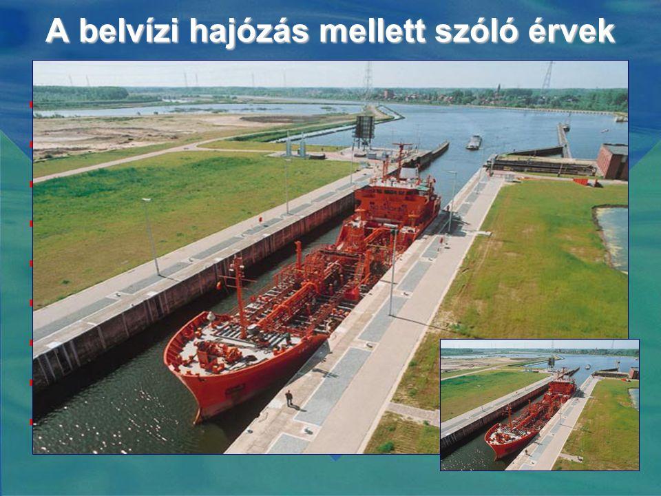 A belvízi hajózás mellett szóló érvek  Nagyon környezetbarát  Nagyon költségkímélő  Messze a legjobb áruszállítási mód  Egy hajó kevesebb üzemanyagot fogyaszt mint egy teherautó  CO 2 kibocsátás 75%-kal alacsonyabb  Biztonságos  Az infrastruktúra-költségek alacsonyak  Rugalmas és megbízható  Alkalmazkodó piacszervezés