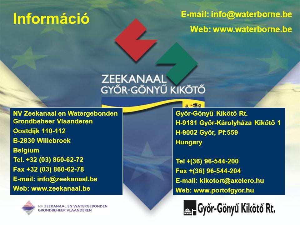 Információ NV Zeekanaal en Watergebonden Grondbeheer Vlaanderen Oostdijk 110-112 B-2830 Willebroek Belgium Tel.