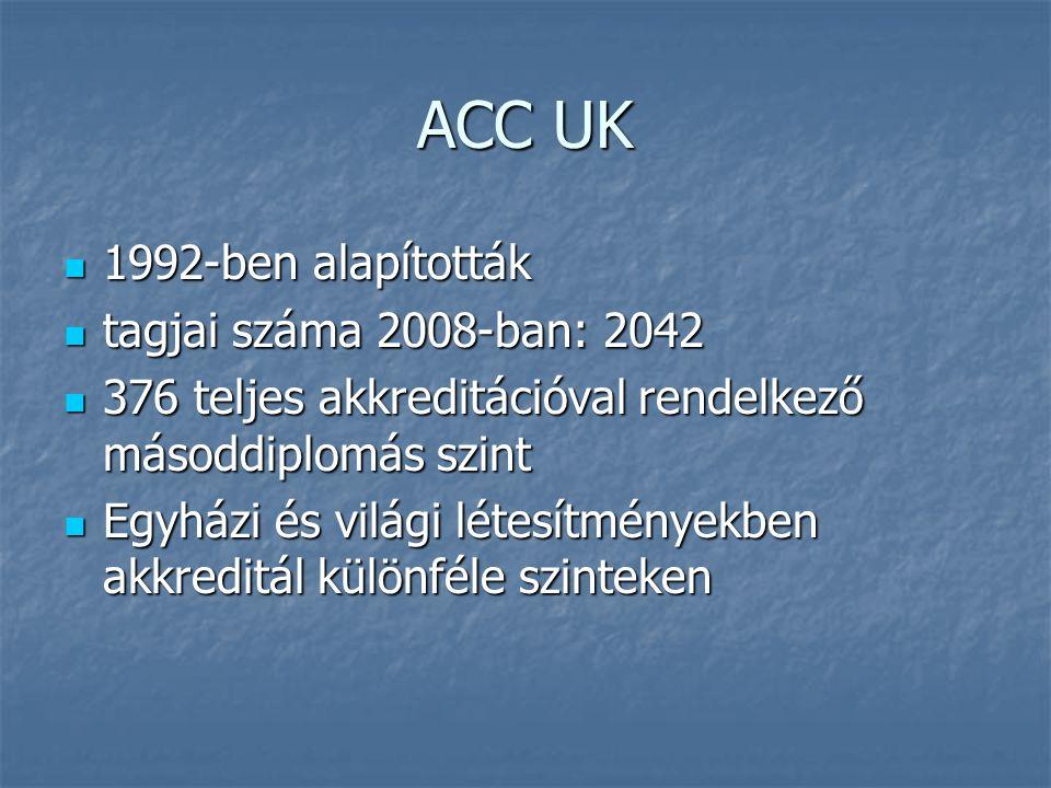 ACC UK  1992-ben alapították  tagjai száma 2008-ban: 2042  376 teljes akkreditációval rendelkező másoddiplomás szint  Egyházi és világi létesítményekben akkreditál különféle szinteken