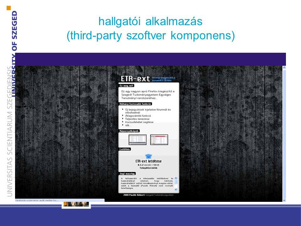 hallgatói alkalmazás (third-party szoftver komponens)