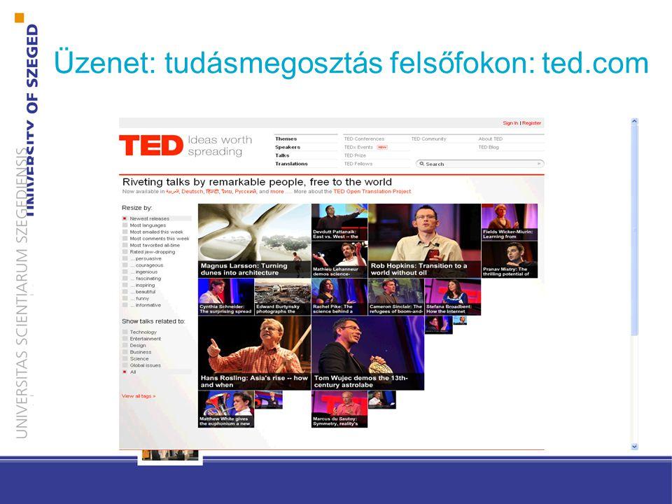 Üzenet: tudásmegosztás felsőfokon: ted.com