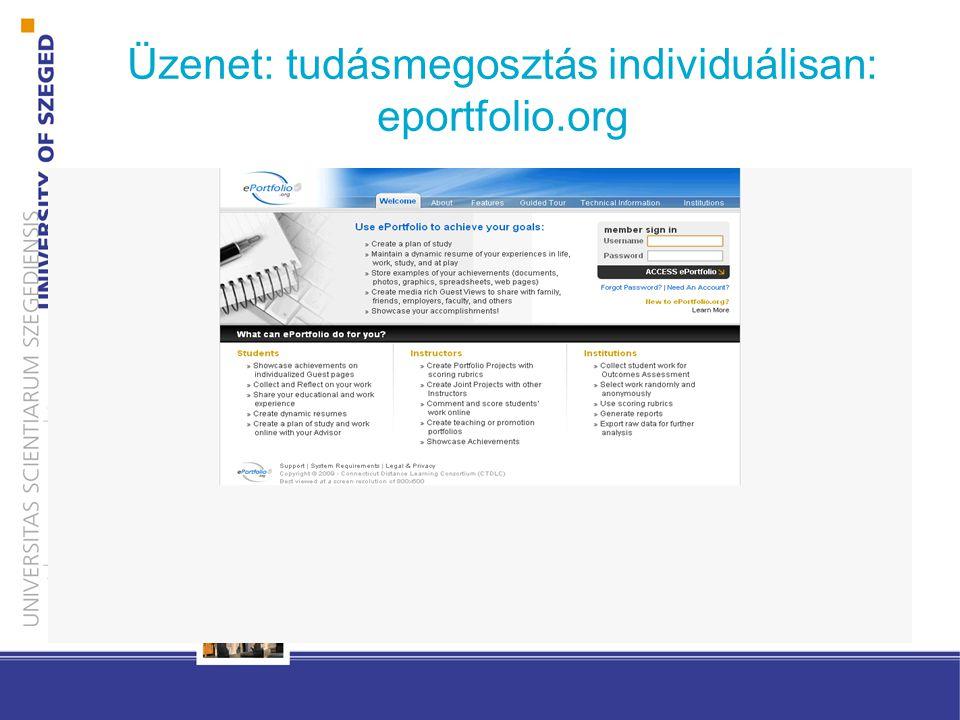 Üzenet: tudásmegosztás individuálisan: eportfolio.org