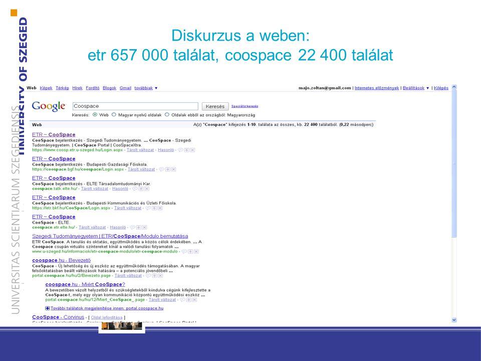 Diskurzus a weben: etr 657 000 találat, coospace 22 400 találat