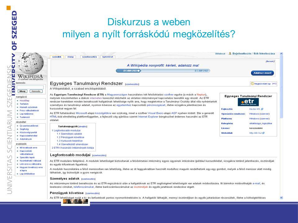 Diskurzus a weben milyen a nyílt forráskódú megközelítés