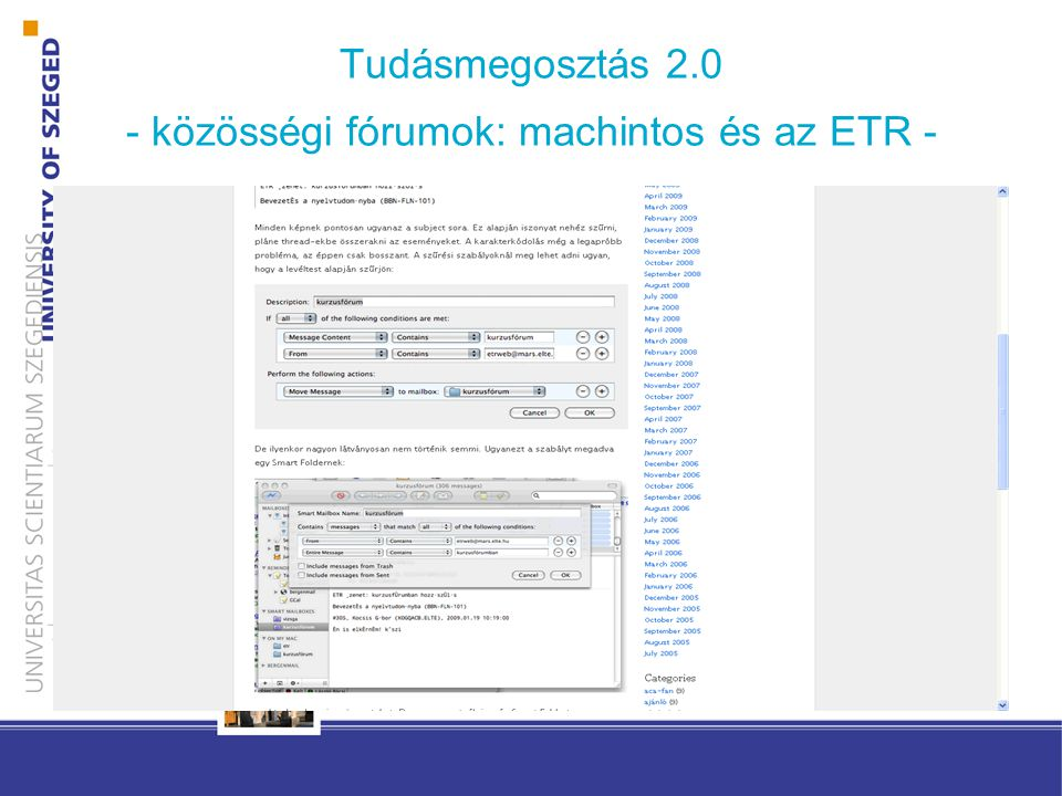 Tudásmegosztás 2.0 - közösségi fórumok: machintos és az ETR -