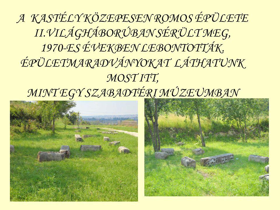 A KASTÉLY KÖZEPESEN ROMOS ÉPÜLETE II.VILÁGHÁBORÚBAN SÉRÜLT MEG, 1970-ES ÉVEKBEN LEBONTOTTÁK. ÉPÜLETMARADVÁNYOKAT LÁTHATUNK MOST ITT, MINT EGY SZABADTÉ