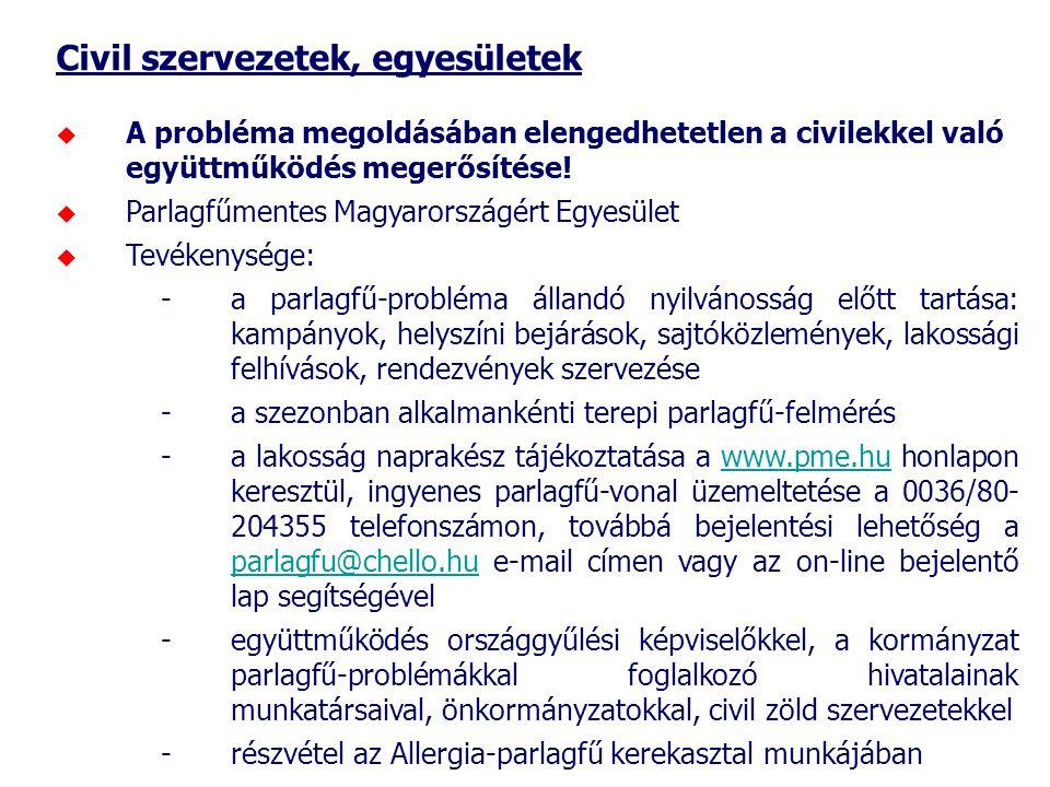 Civil szervezetek, egyesületek  A probléma megoldásában elengedhetetlen a civilekkel való együttműködés megerősítése!  Parlagfűmentes Magyarországér