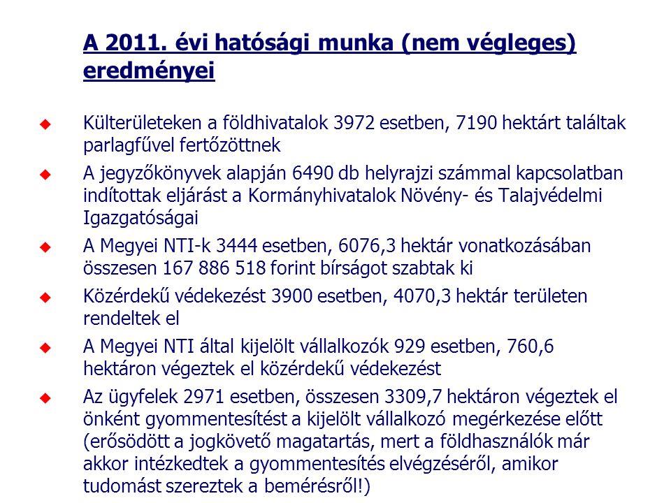 A 2011. évi hatósági munka (nem végleges) eredményei  Külterületeken a földhivatalok 3972 esetben, 7190 hektárt találtak parlagfűvel fertőzöttnek  A