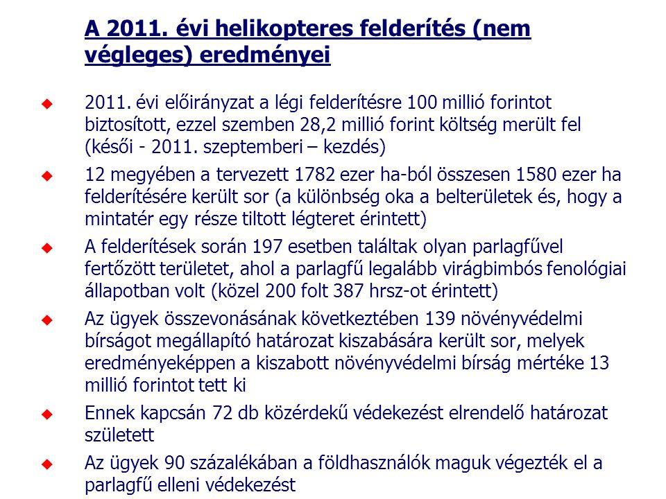 A 2011. évi helikopteres felderítés (nem végleges) eredményei  2011. évi előirányzat a légi felderítésre 100 millió forintot biztosított, ezzel szemb