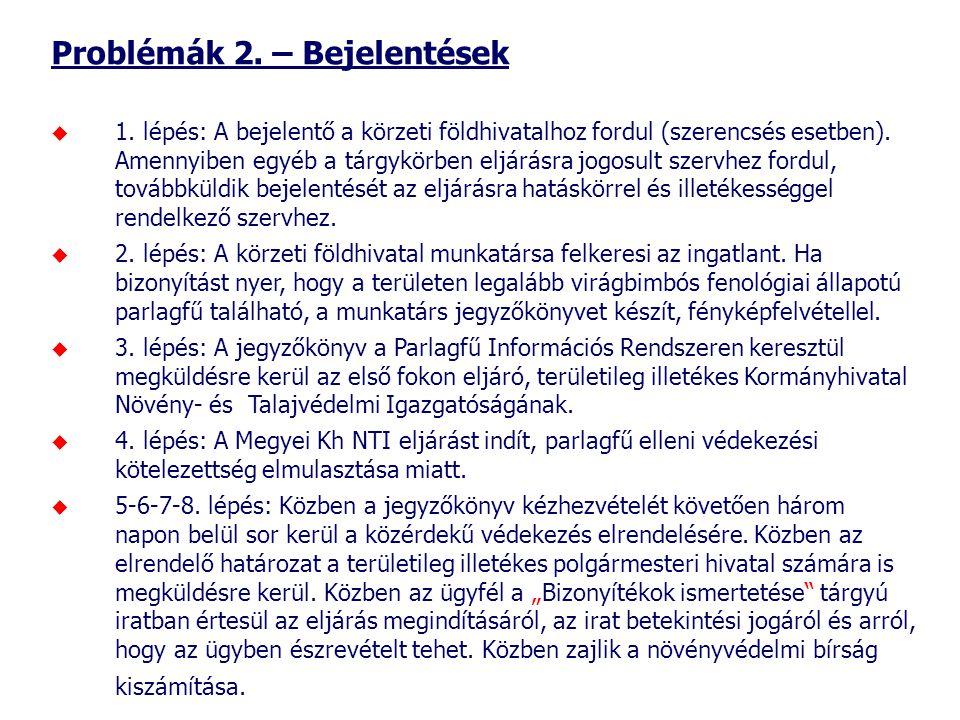 Problémák 2. – Bejelentések  1. lépés: A bejelentő a körzeti földhivatalhoz fordul (szerencsés esetben). Amennyiben egyéb a tárgykörben eljárásra jog