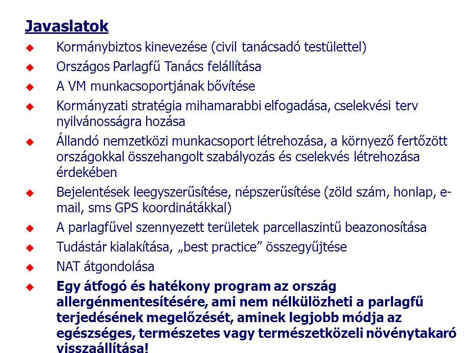 Javaslatok  Kormánybiztos kinevezése (civil tanácsadó testülettel)  Országos Parlagfű Tanács felállítása  A VM munkacsoportjának bővítése  Kormány