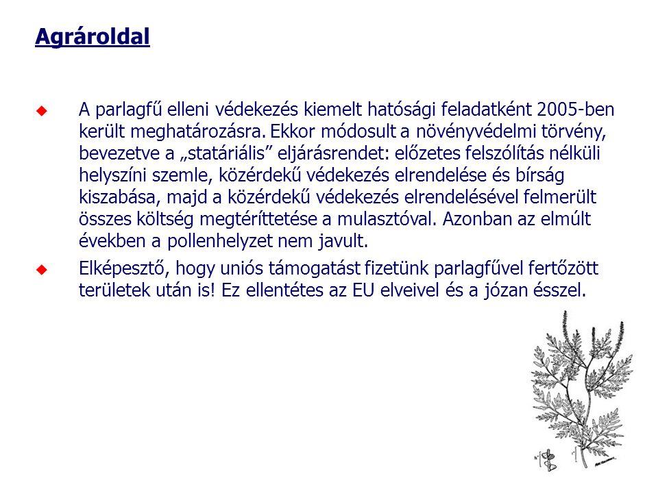 Agrároldal  A parlagfű elleni védekezés kiemelt hatósági feladatként 2005-ben került meghatározásra. Ekkor módosult a növényvédelmi törvény, bevezetv