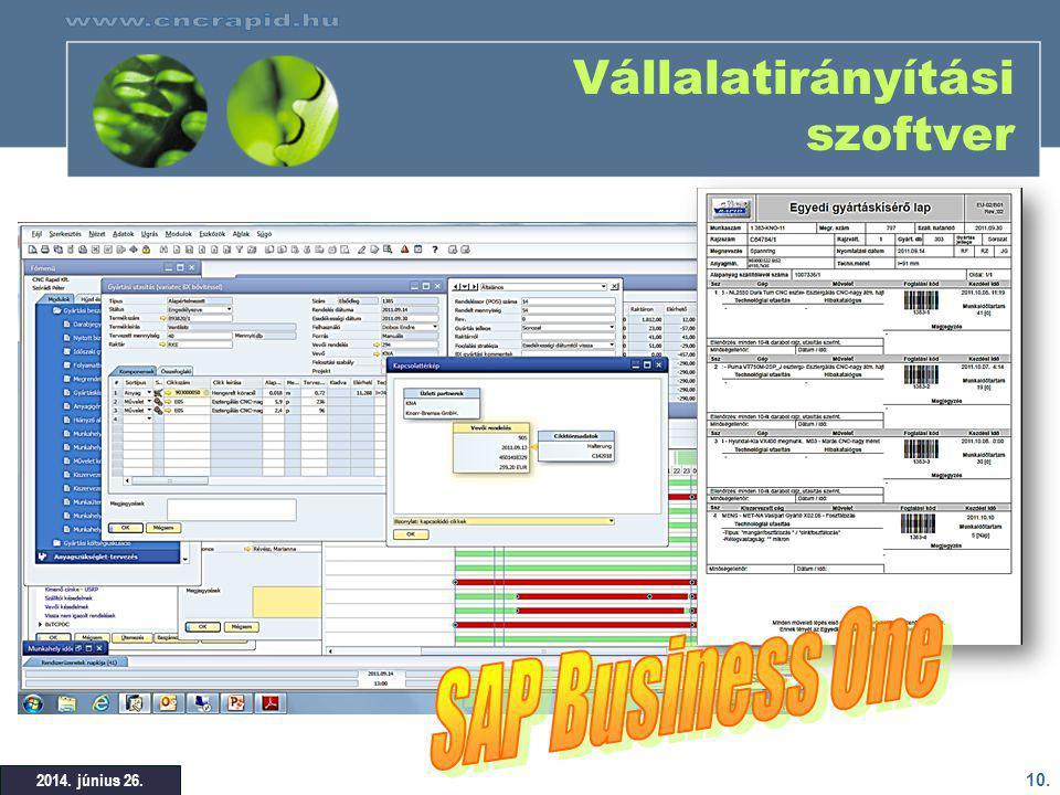 10. 2014. június 26. Vállalatirányítási szoftver