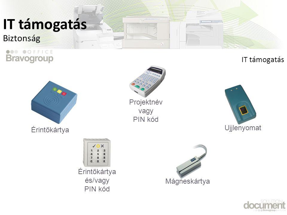 Biztonság Ujjlenyomat Érintőkártya és/vagy PIN kód MágneskártyaProjektnév vagy PIN kód Érintőkártya IT támogatás