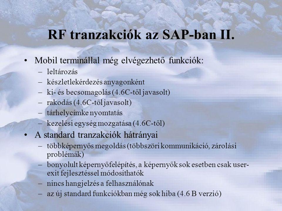 RF tranzakciók az SAP-ban II.