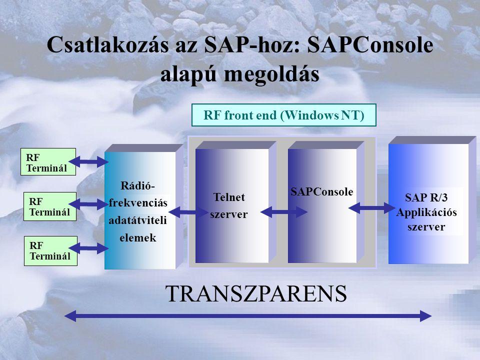 Csatlakozás az SAP-hoz: SAPConsole alapú megoldás RF front end (Windows NT) RF Terminál RF Terminál RF Terminál Telnet szerver SAPConsole SAP R/3 Applikációs szerver TRANSZPARENS Rádió- frekvenciás adatátviteli elemek
