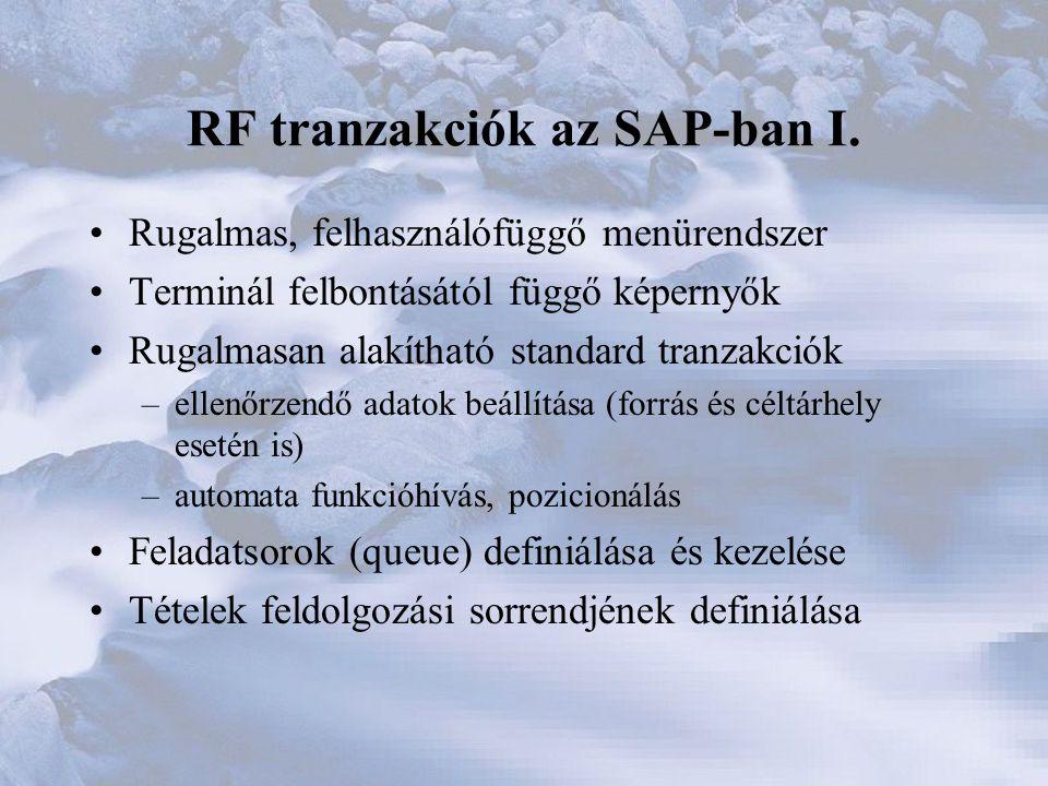 RF tranzakciók az SAP-ban I.