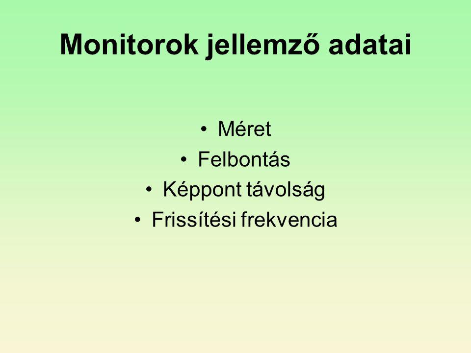 Monitorok jellemző adatai •Méret •Felbontás •Képpont távolság •Frissítési frekvencia