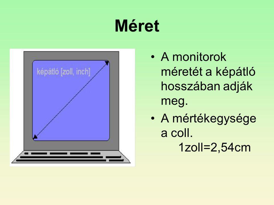 Méret •A monitorok méretét a képátló hosszában adják meg. •A mértékegysége a coll. 1zoll=2,54cm